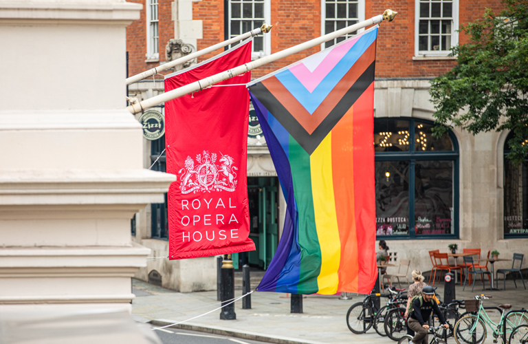 Pride flag, NHS Performance at the Royal Opera House ©2021 ROH. Photograph by Lara Cappelli