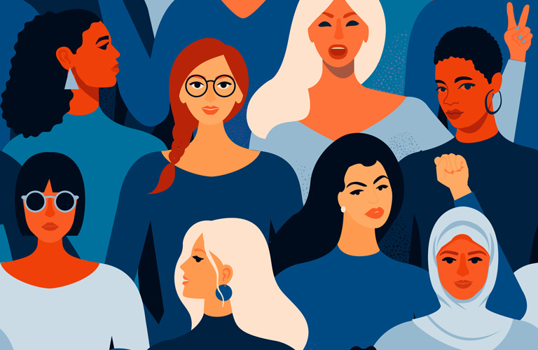 Ethnically diverse group of women illustrated with bright colours.