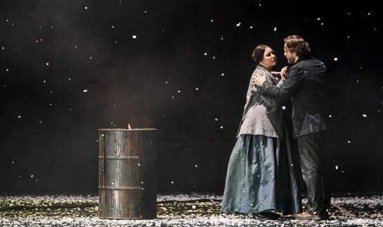 Sonya Yoncheva as Mimì and Andrzej Filończyk as Marcello in La bohème, The Royal Opera ©2020 ROH. Photograph by Tristram Kenton