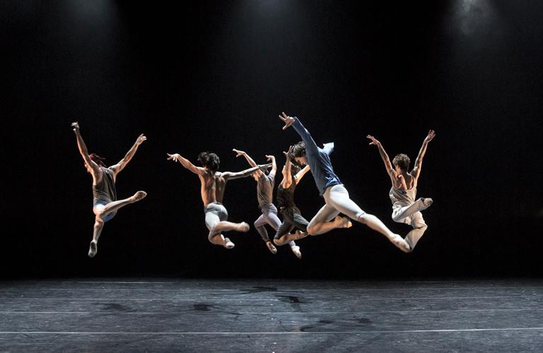 Sander Blommaert, Luca Acri, Leo Dixon, Téo Dubreuil, Benjamin Ella and David Yudes in Valentino Zucchetti's Alpha, The Royal Ballet's Draft Works, 2015 ©2015 ROH. Photograph by Andrej Uspenski