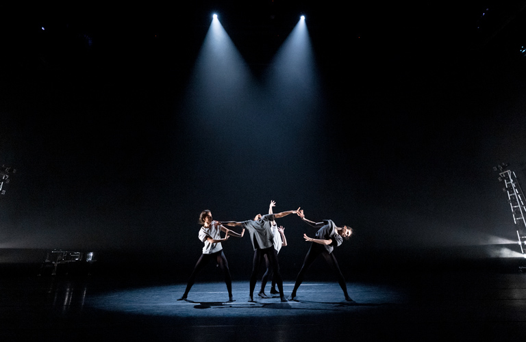 Leticia Dias, Marianna Tsembenhoi, Charlotte Tonkinson and Amelia Townsend in Amelia Townsend's piece for Spring Draft Works ©2021 ROH. Photograph by Andrej Uspenski